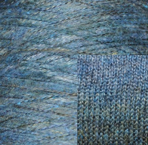 Fine double knit mohair style shades of blue Ramie  mix yarn 450g - 520g